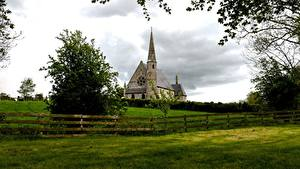 Pictures Ireland Church Grass Fence Branches Ballyclog Cities