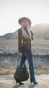 Hintergrundbilder Handtasche Bokeh Blond Mädchen Der Hut Bein Jeans Mädchens