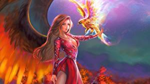 Fotos Magische Tiere Vögel Flügel Kleid Fantasy Mädchens