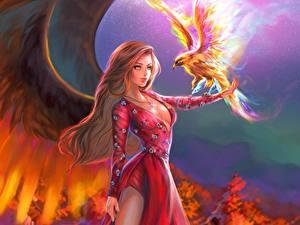 Papéis de parede Mágicos animais Aves Asa Vestido Fantasia Meninas