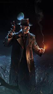 Hintergrundbilder Mann Pistole Fallout 4 Nacht Der Hut Roboter computerspiel Fantasy