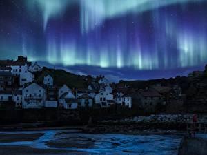 Bilder England Haus Nacht Dorf Aurora borealis Yorkshire Natur