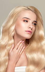 Bilder Grauer Hintergrund Blond Mädchen Haar Hand junge Frauen