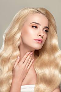 Bilder Grauer Hintergrund Blondine Haar Hand Mädchens