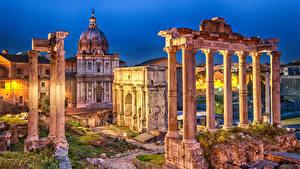 デスクトップの壁紙、、イタリア、ローマ、廃墟、夕、柱、Roman Forum, Septimius Severus Arch, Saturn Temple、都市
