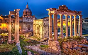 Hintergrundbilder Italien Rom Ruinen Abend Säule Roman Forum, Septimius Severus Arch, Saturn Temple Städte