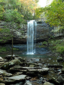 Wallpaper USA Parks Waterfalls Stones Cliff Cloudland Canyon State Park