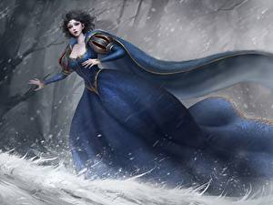 Fonds d'écran Hiver Les robes Fantasy Filles