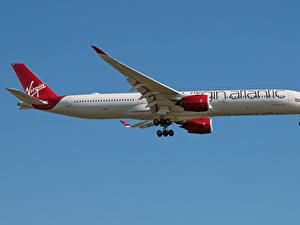 Bilder Airbus Flugzeuge Verkehrsflugzeug Seitlich A350-1000, Virgin Atlantic Luftfahrt