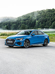 Fotos Audi Hellblau Metallisch A3 Sedan 35 TDI S line Worldwide, 2020 automobil