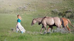 Hintergrundbilder Pferd Blond Mädchen Gras Geht ein Tier Mädchens