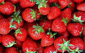 Hintergrundbilder Erdbeeren Textur Großansicht Rot Lebensmittel