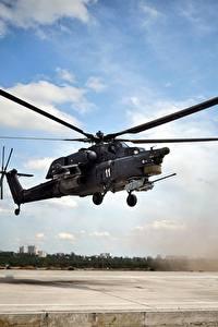 壁纸、、ヘリコプター、ロシアの、Mi-28N、航空