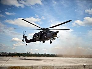 Hintergrundbilder Hubschrauber Russische Mi-28N