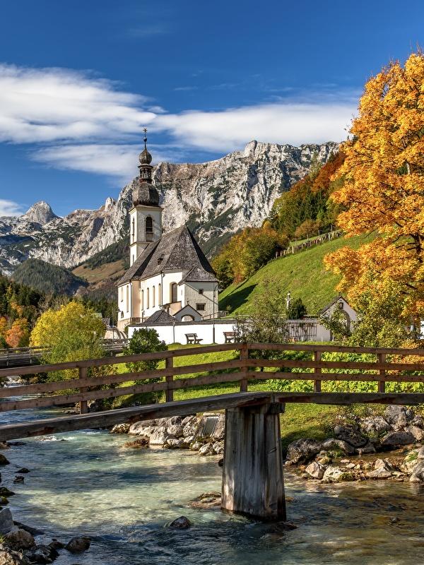 Fonds d'ecran 600x800 Rivières Ponts Montagnes Automne Allemagne Église St.  Sebastian, Ramsau Bavière Nature télécharger photo