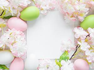 Bilder Ostern Blühende Bäume Vorlage Grußkarte Ei Blatt Papier