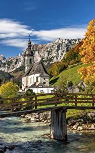 Bilder Flusse Brücke Berg Herbst Deutschland Kirche Bayern St. Sebastian, Ramsau