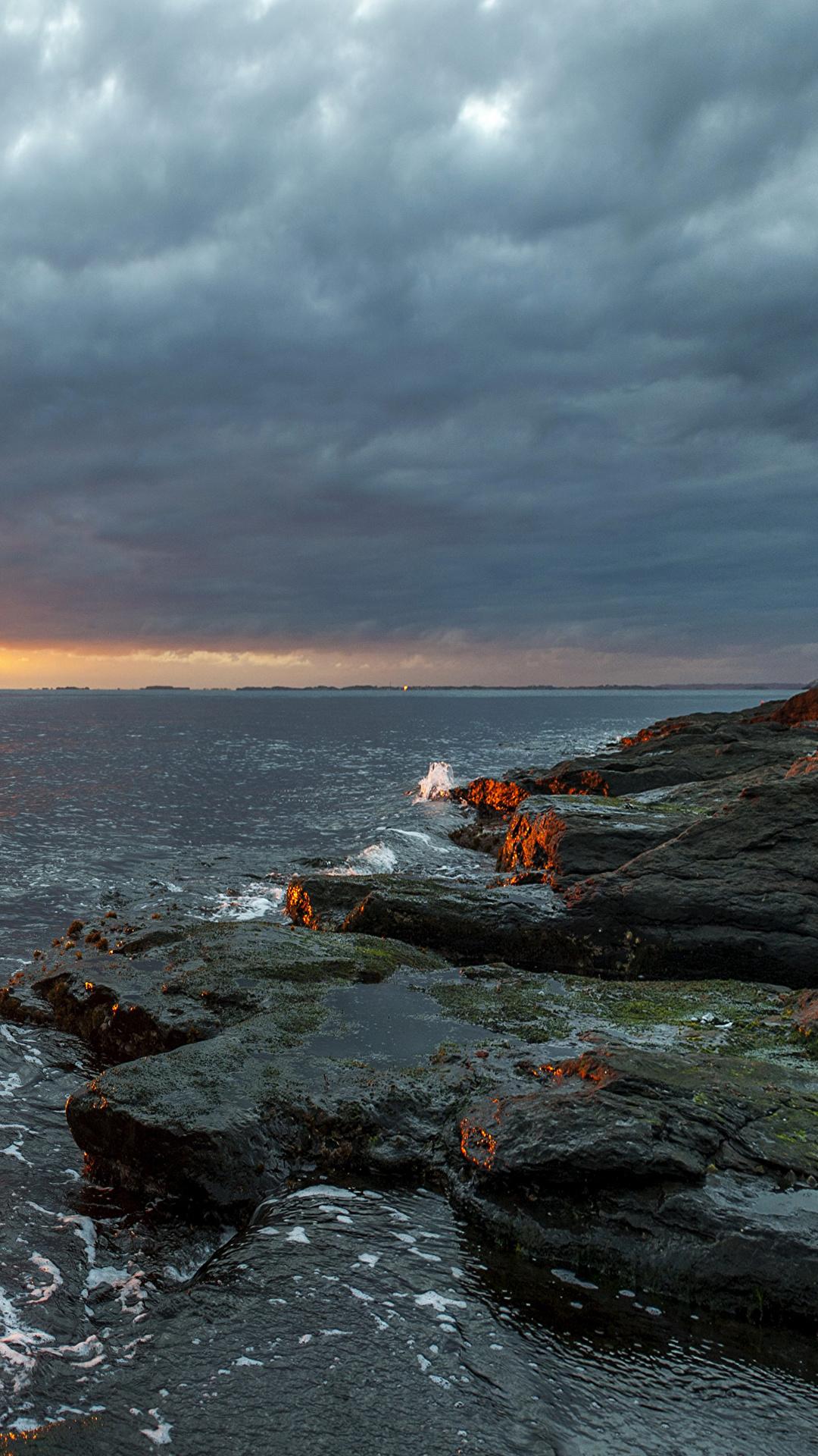 Fotos von Norwegen Rogaland Natur Sonne Himmel Sonnenaufgänge und Sonnenuntergänge Steine Küste 1080x1920