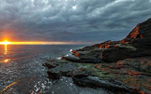 Hintergrundbilder Norwegen Sonnenaufgänge und Sonnenuntergänge Küste Himmel Steine Sonne Rogaland