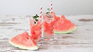 Bilder Wassermelonen Saft Stück Trinkglas Lebensmittel