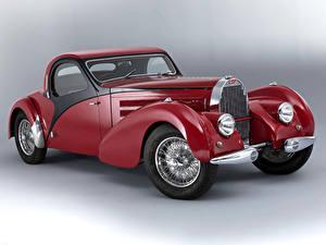 Hintergrundbilder BUGATTI Retro Grauer Hintergrund Rot 1938 Type 57 Atalante Autos