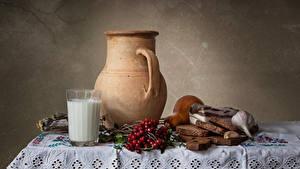 Hintergrundbilder Stillleben Milch Eberesche Brot Knoblauch Tisch Kannen Trinkglas Salo - Lebensmittel Lebensmittel