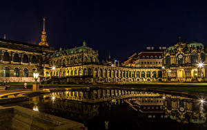 Pictures Dresden Germany Evening Pond Palace Museums Street lights Zwinger Cities