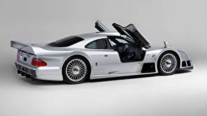 Picture Mercedes-Benz Silver color Metallic Side Doors Gray background CLK GTR AMG Coupe, 1997 Cars