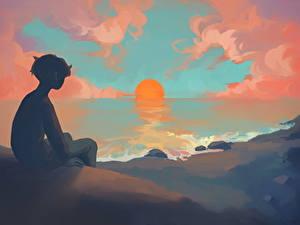 Bilder Sonnenaufgänge und Sonnenuntergänge Junge Sonne Anime