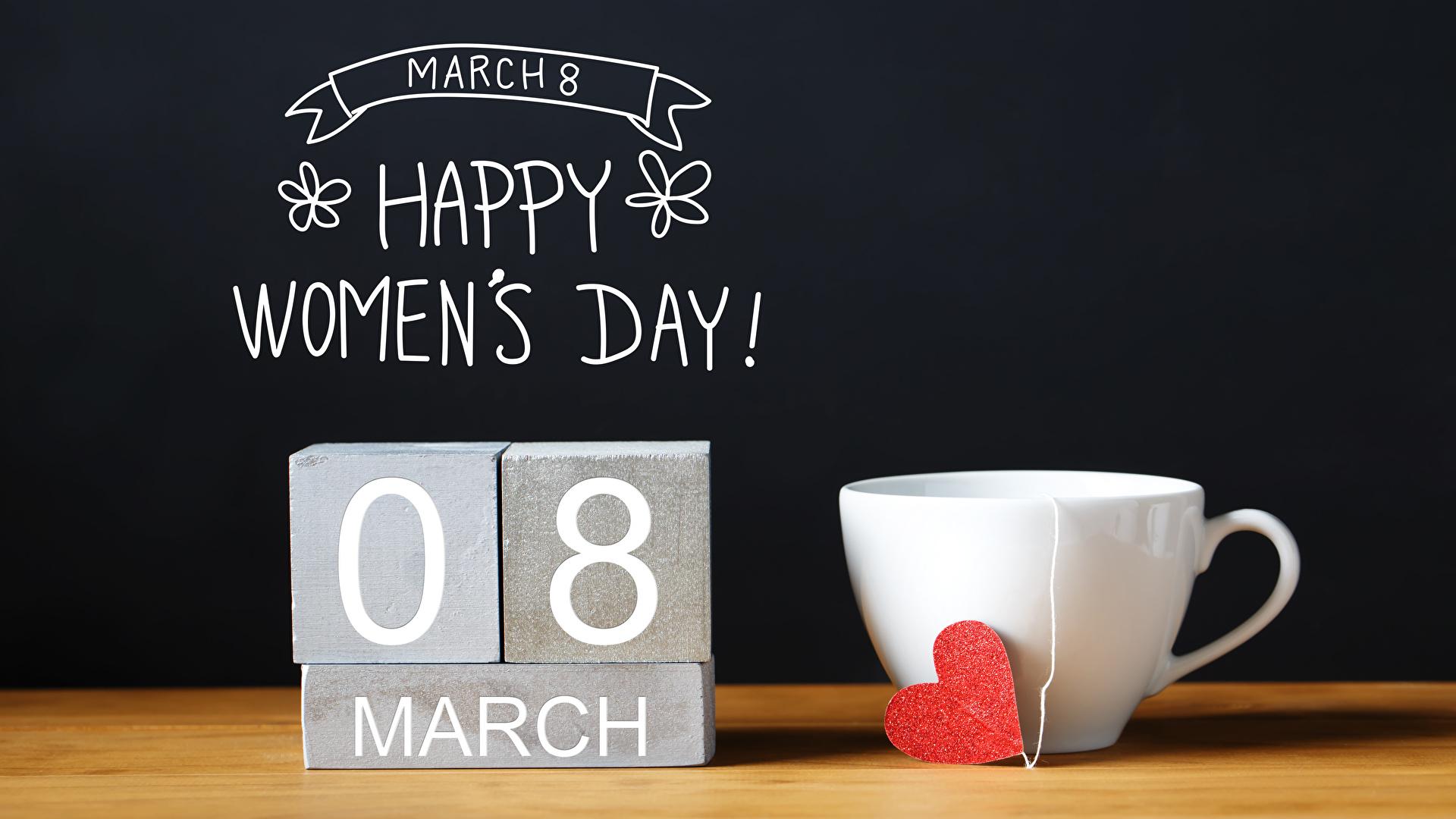 Bilder von 8 März Englisch Herz Tasse Lebensmittel Schwarzer Hintergrund 1920x1080 Internationaler Frauentag