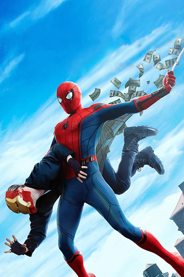 Tapeta Spider-Man: Homecoming Bohaterowie komiksów Spider-Man superbohater film 640x960 dla Telefon komórkowy superbohaterów Filmy