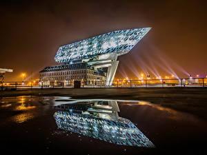 Hintergrundbilder Belgien Gebäude Design Spiegelung Spiegelbild Antwerpen Städte