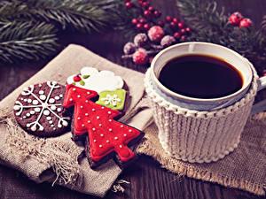 Fotos Neujahr Kaffee Kekse Tasse Design Tannenbaum