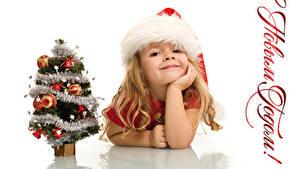 Hintergrundbilder Neujahr Russische Weißer hintergrund Kleine Mädchen Mütze Lächeln Weihnachtsbaum Kinder