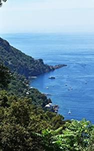 Wallpaper Coast Italy Sea Boats Branches Liguria Nature