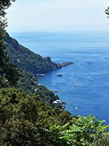 Fotos Küste Italien Meer Boot Ast Liguria