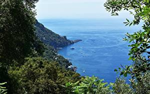 Wallpaper Coast Italy Sea Boats Branches Liguria
