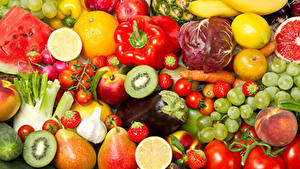Pictures Fruit Vegetables Pepper Tomatoes Pears Grapes Strawberry Kiwi Food