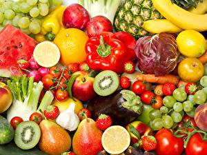 Bilder Obst Gemüse Peperone Tomate Birnen Weintraube Erdbeeren Kiwi