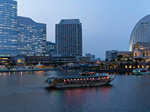 Photo Japan Building Berth Evening Riverboat Bay Yokohama Cities