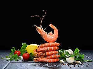 Bilder Meeresfrüchte Krevette Knoblauch Tomate Zitrone Schwarzer Pfeffer Schwarzer Hintergrund Lebensmittel