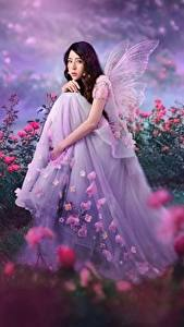 Images Fairies Asiatic Roses Sitting Frock female Fantasy