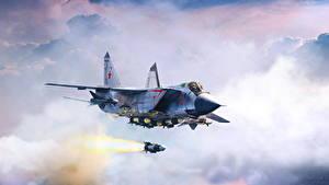 Fotos Flugzeuge Jagdflugzeug Gezeichnet Rakete Russisches Flug MiG-31B interceptor-fighter fires long-range R-33 missile Luftfahrt