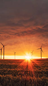Wallpaper Scenery Fields Sunrises and sunsets Rays of light Sun Wind turbine
