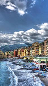 Fotos Italien Haus Resort Küste Wasserwelle Wolke HDR Camogli Städte