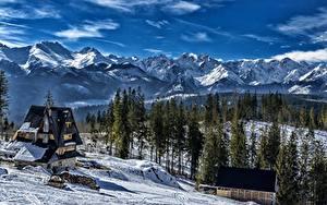 Bilder Gebirge Winter Wälder Haus Landschaftsfotografie Slowakei Schnee Tatra mountains