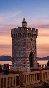 Hintergrundbilder Toskana Italien Sonnenaufgänge und Sonnenuntergänge Leuchtturm Zaun Piombino Natur