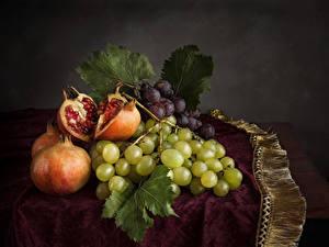 Hintergrundbilder Stillleben Weintraube Granatapfel Blattwerk