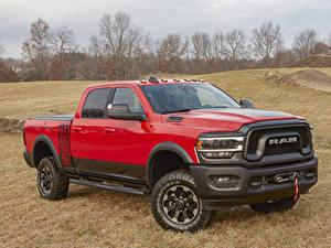 Hintergrundbilder Dodge Pick-up Rot Metallisch 2019 Ram 2500 Power Wagon Crew Cab