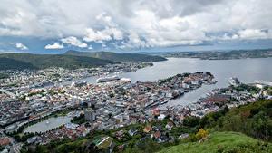 Photo Norway Coast Houses Berth River Bergen Cities
